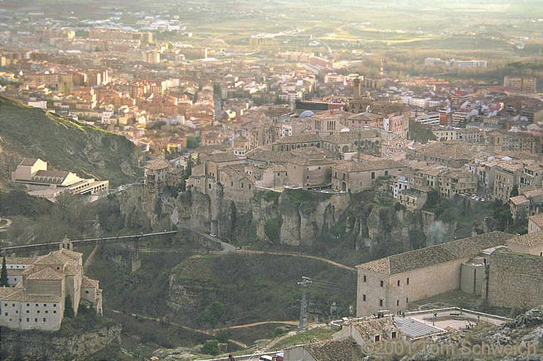 View of old town Cuenca from the hill above it.