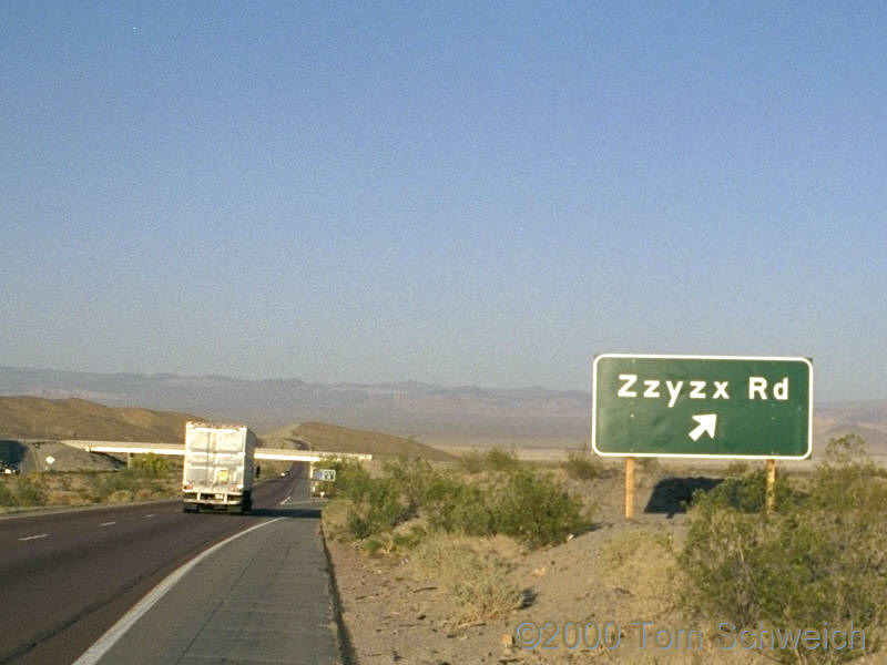 The Zzyzx Road exit from Interstate 15