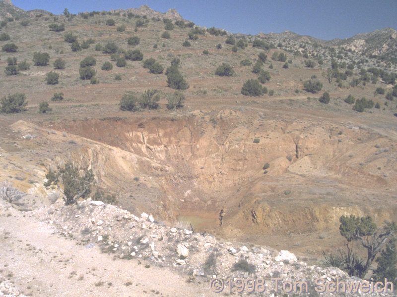 The open pit of the Golden Quail Mine.