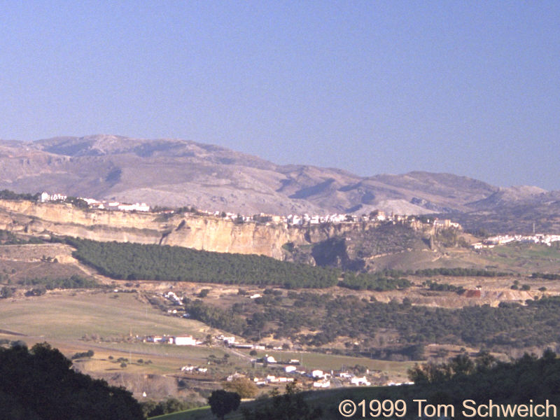 Distant view of Ronda in the late afternoon.