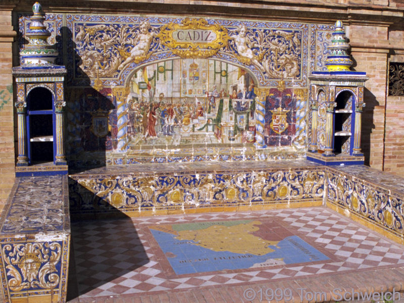 Detail of tile display along promenade.