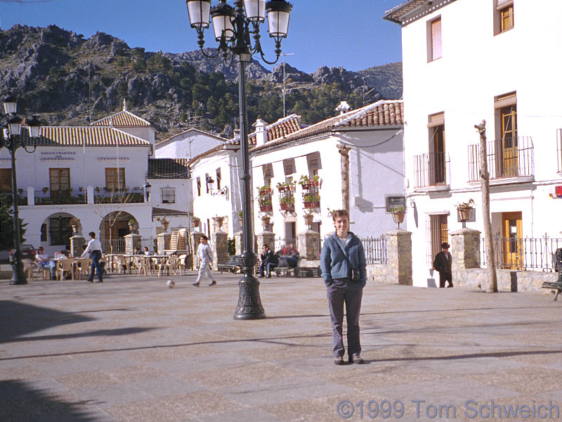 Rachel in the main plaza of Grazalema.