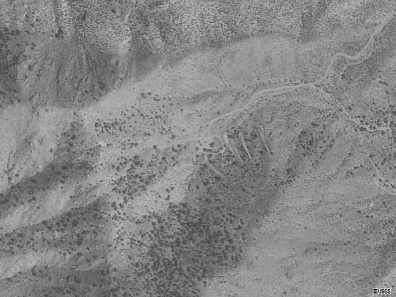 Aerial photograph of prospect trenches at the Silver Buddy Mine.