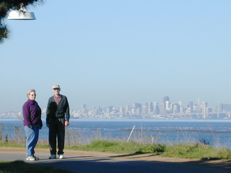 Martha and Grandaddy with San Francisco in the background.