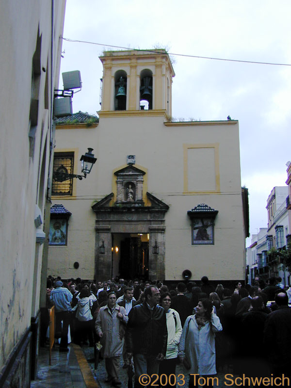 Waiting to enter a church to see the pasos
