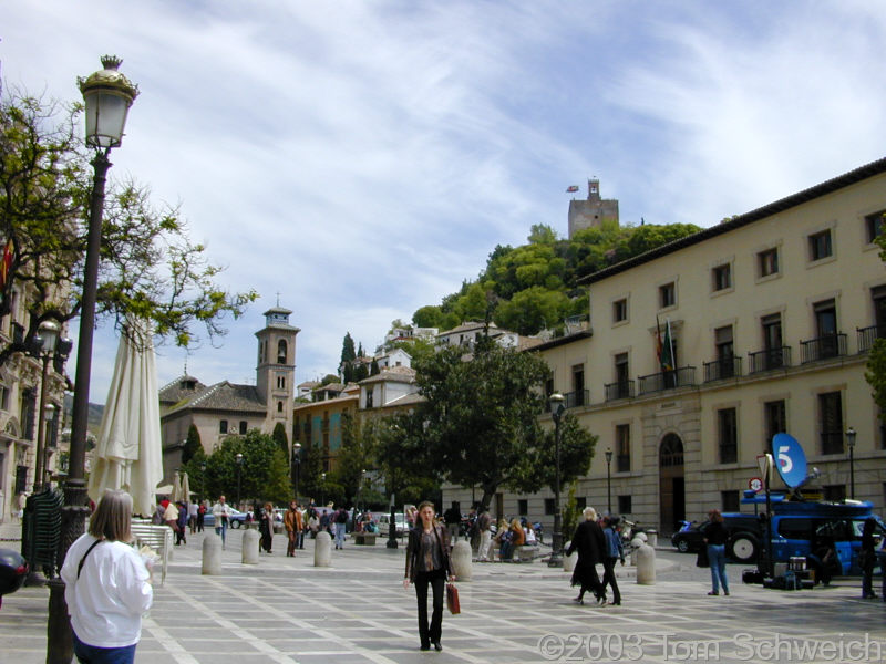 Plaza Nueva with the Alcazaba of La Alhambra above.