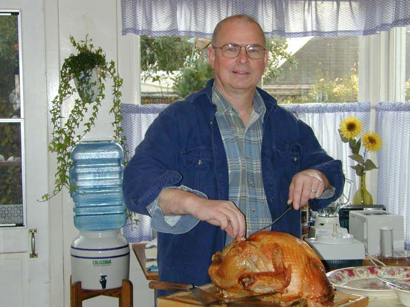 Tom getting ready to carve the turkey.