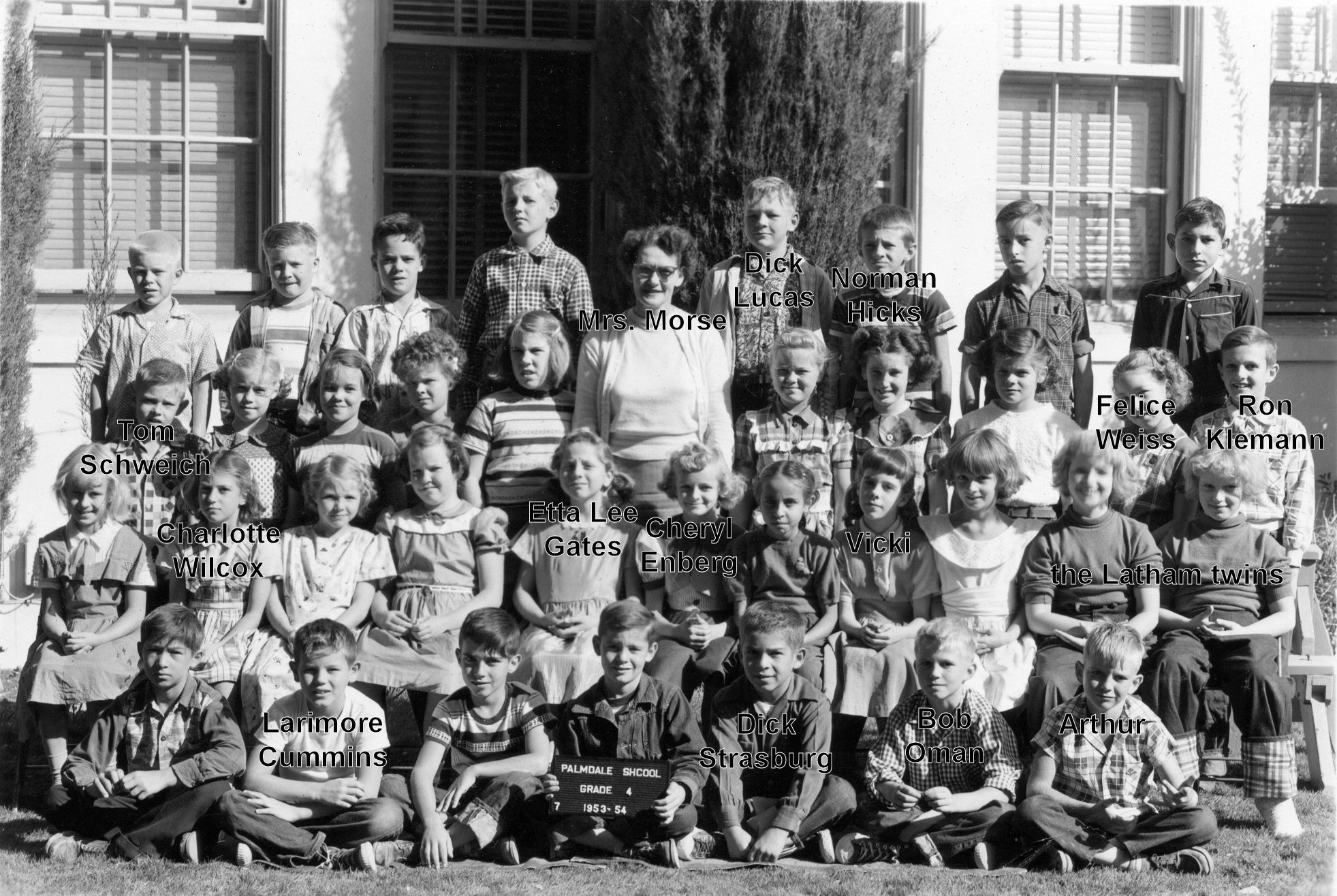 Palmdale School, Fourth Grade, 1953-4, Mrs. Morse  (with names)
