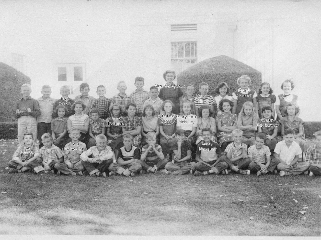 Palmdale School, Fifth Grade, 1954-5, Mrs. Salestrom (with names)