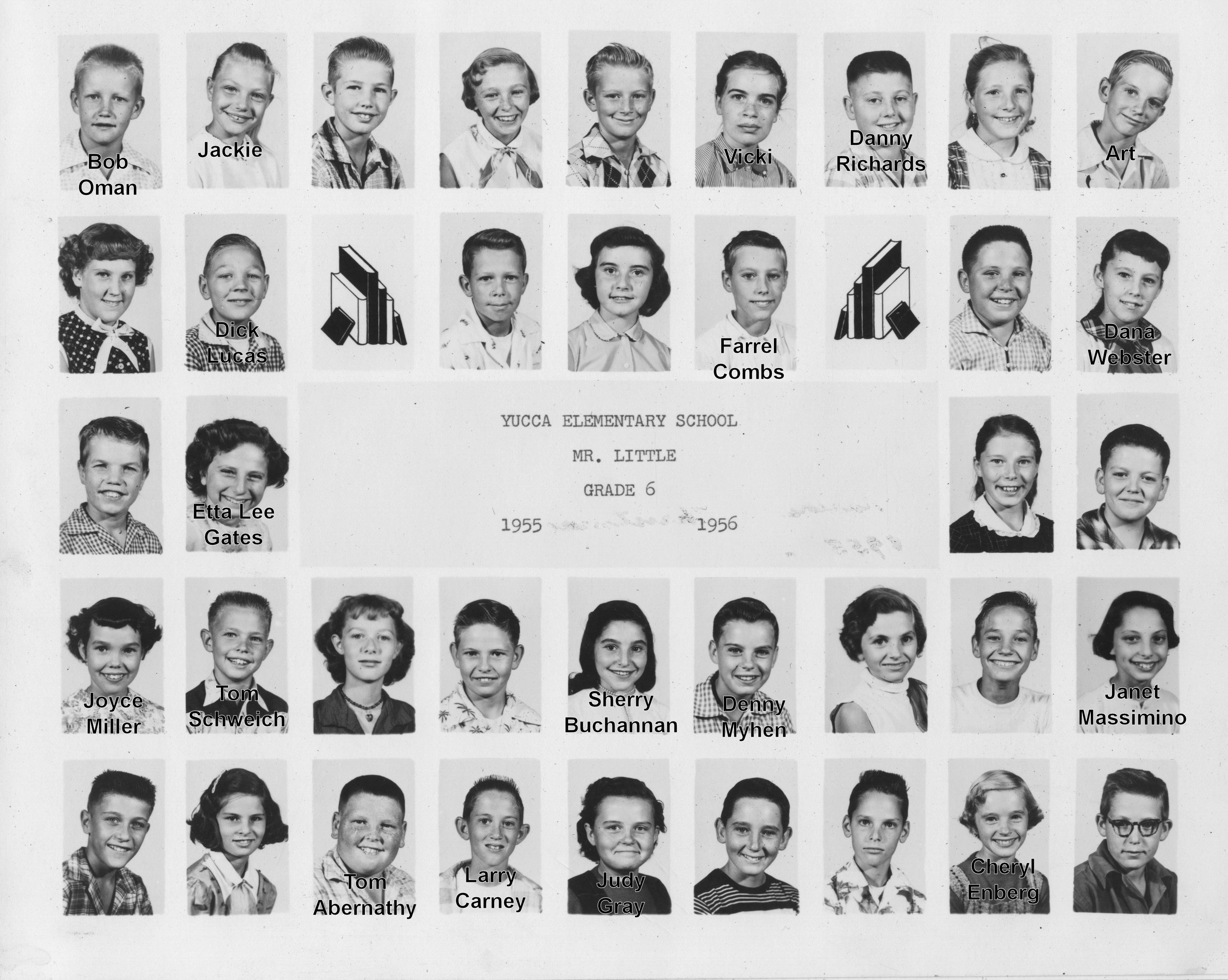 Yucca School, Sixth Grade, 1955-6,  Mr. Little (with names)