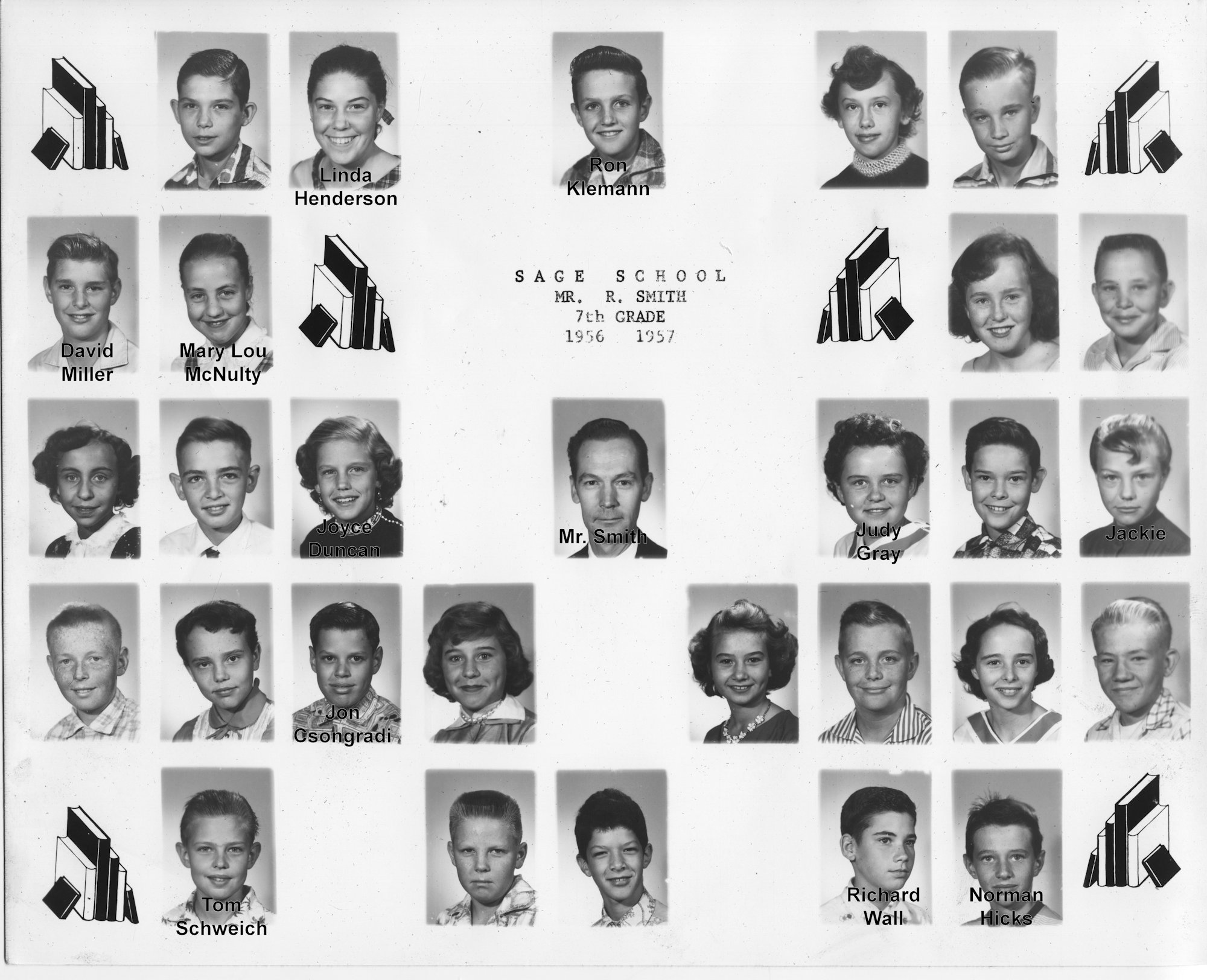 Sage School, Seventh Grade, 1956-7, Mr. Smith (with names)