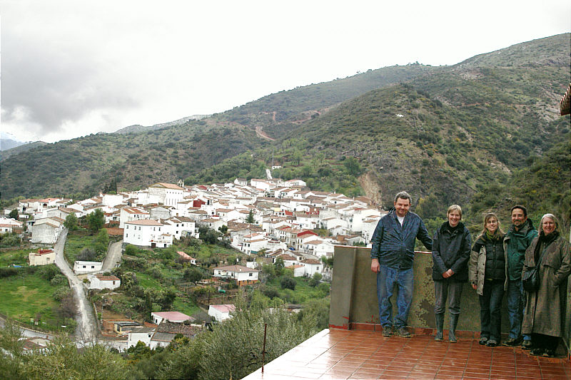 Chris and Sue on the terrace of their house, Jimera de Libar in the background.