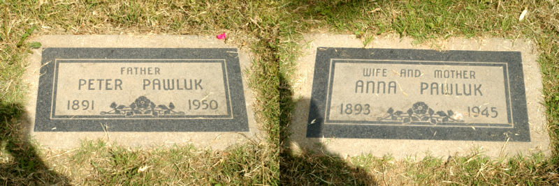 Gravestones for Anna and Peter Pawluk.