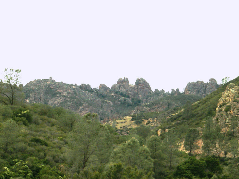 View of the Pinnacles from the canyon below.