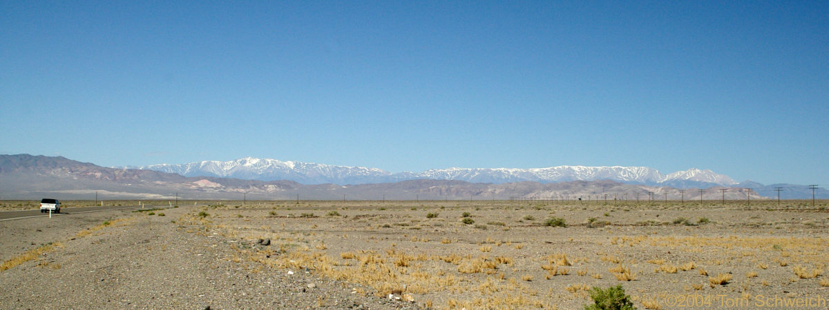 White Mountains in California seen from US Hwy95 near Tonopah, Nevada