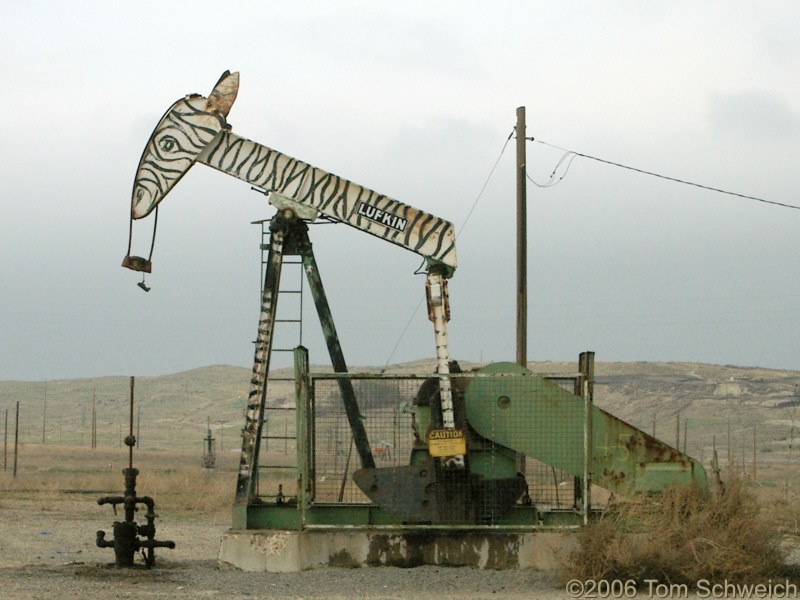 oil pump, zebra, Iron Zoo, Fresno County, California