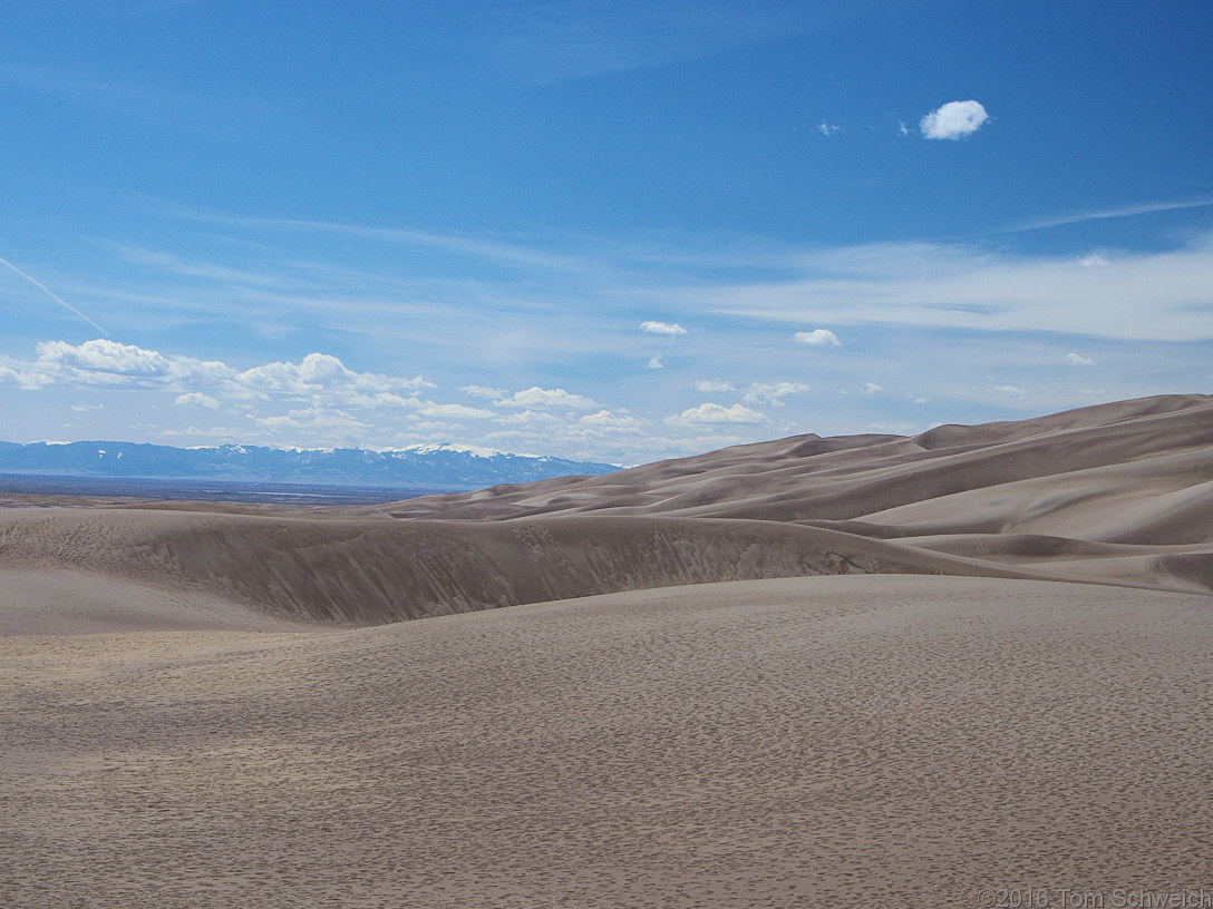 View southwest from Great Sand Dunes to the San Juan Mountains