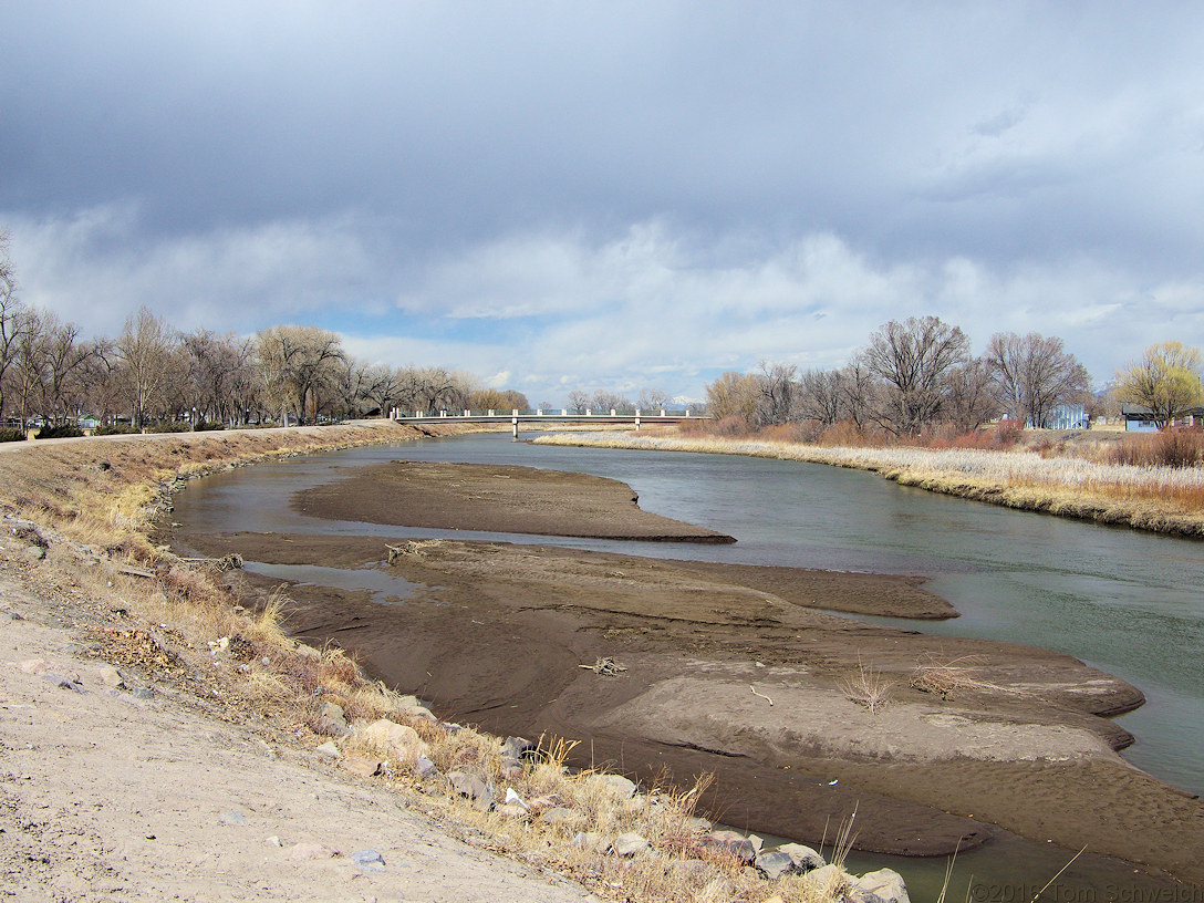 The Rio Grande River in downtown Alamosa.