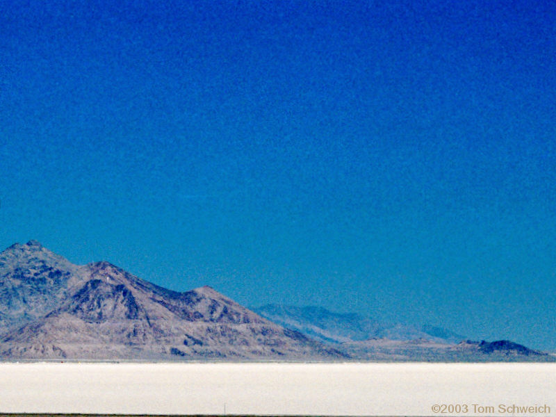 The Bonneville Salt Flats from the Rest Stop on US I-80.