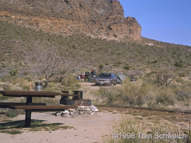 Two camp sites in the campground at Hole in the Wall.