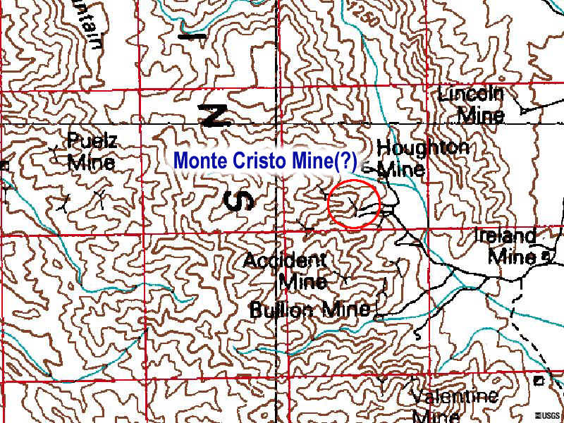 Approximate Location of the Monte Cristo Mine.